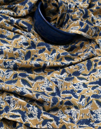 KALAMKARI FABRIC : ANAR YELLOW : DARK INDIGO