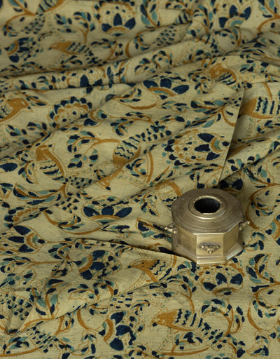 KALAMKARI FABRIC : KORA : DARK INDIGO : ANAR YELLOW