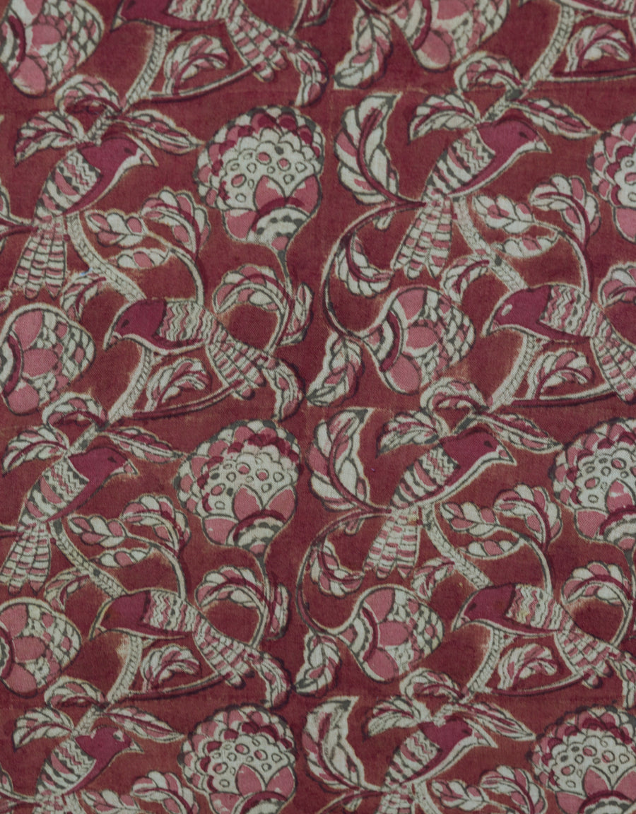 Malkha Natural Dyed Handlooms -KALAMKARI FABRIC : ALIZARIN RED : MANJISHTHA BRICK RED : ANAR GREEN