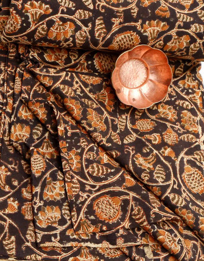 KALAMKARI FABRIC : BLACK : ANAR YELLOW : ANAR GREEN