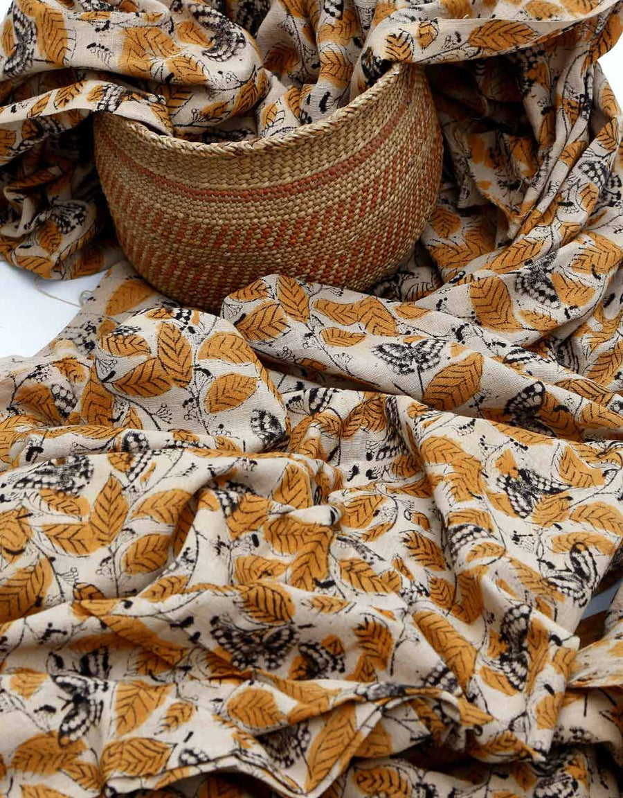 Malkha Natural Dyed Handlooms -KALAMKARI FABRIC : KORA : ANAR YELLOW : BLACK