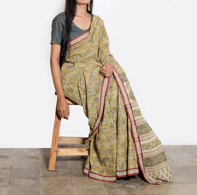 KALAMKARI SAREE : ANAR YELLOW : LIGHT MEHNDI GREEN : KORA