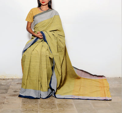 CROSS COLOUR SAREE : ANAR YELLOW : OLIVE GREEN