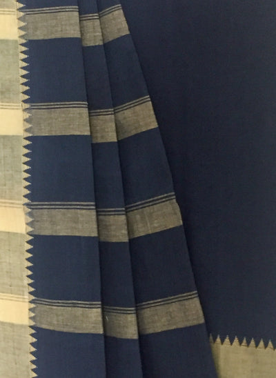 SOLID SAREE : DARK INDIGO : ANAR YELLOW