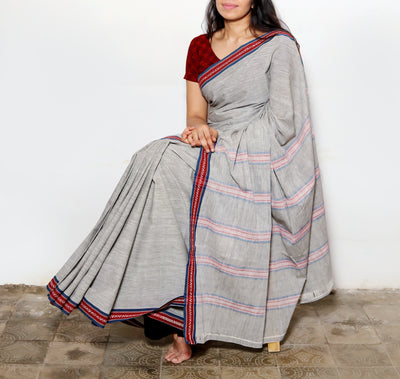 CROSS COLOUR SAREE : BLACK : KORA