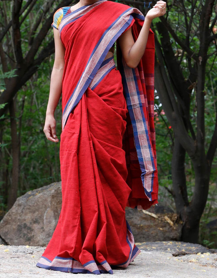Malkha Natural Dyed Handlooms -SOLID SAREE : ALIZARIN RED : DARK INDIGO