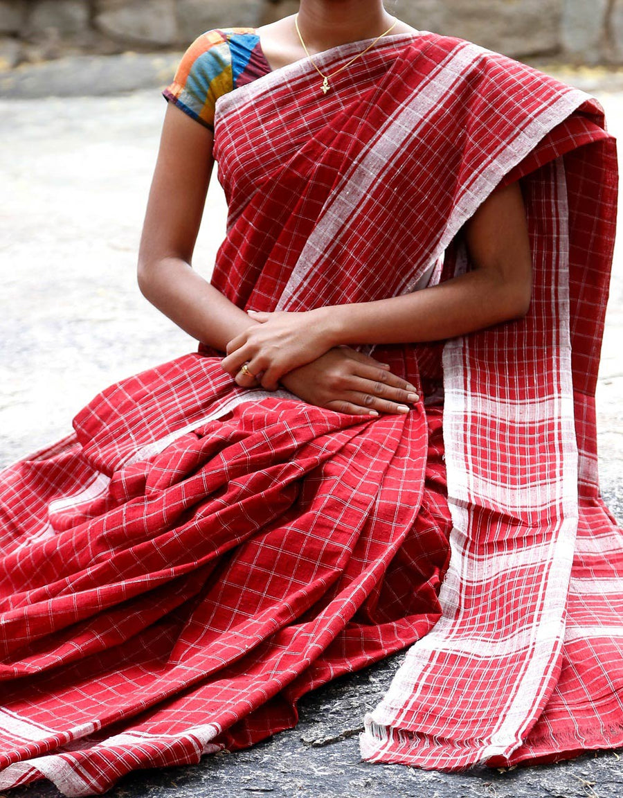 Malkha Natural Dyed Handlooms -GEOMETRIC SAREE : ALIZARIN RED