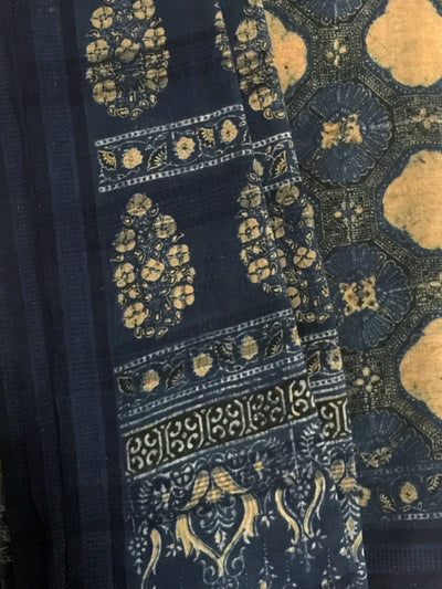 AJRAKH SAREE : DARK INDIGO : ANAR YELLOW : ANAR GREEN