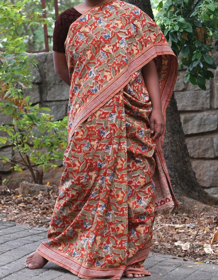 Malkha Natural Dyed Handlooms -KALAMKARI SAREE : ALIZARIN RED : DARK INDIGO : ANAR YELLOW