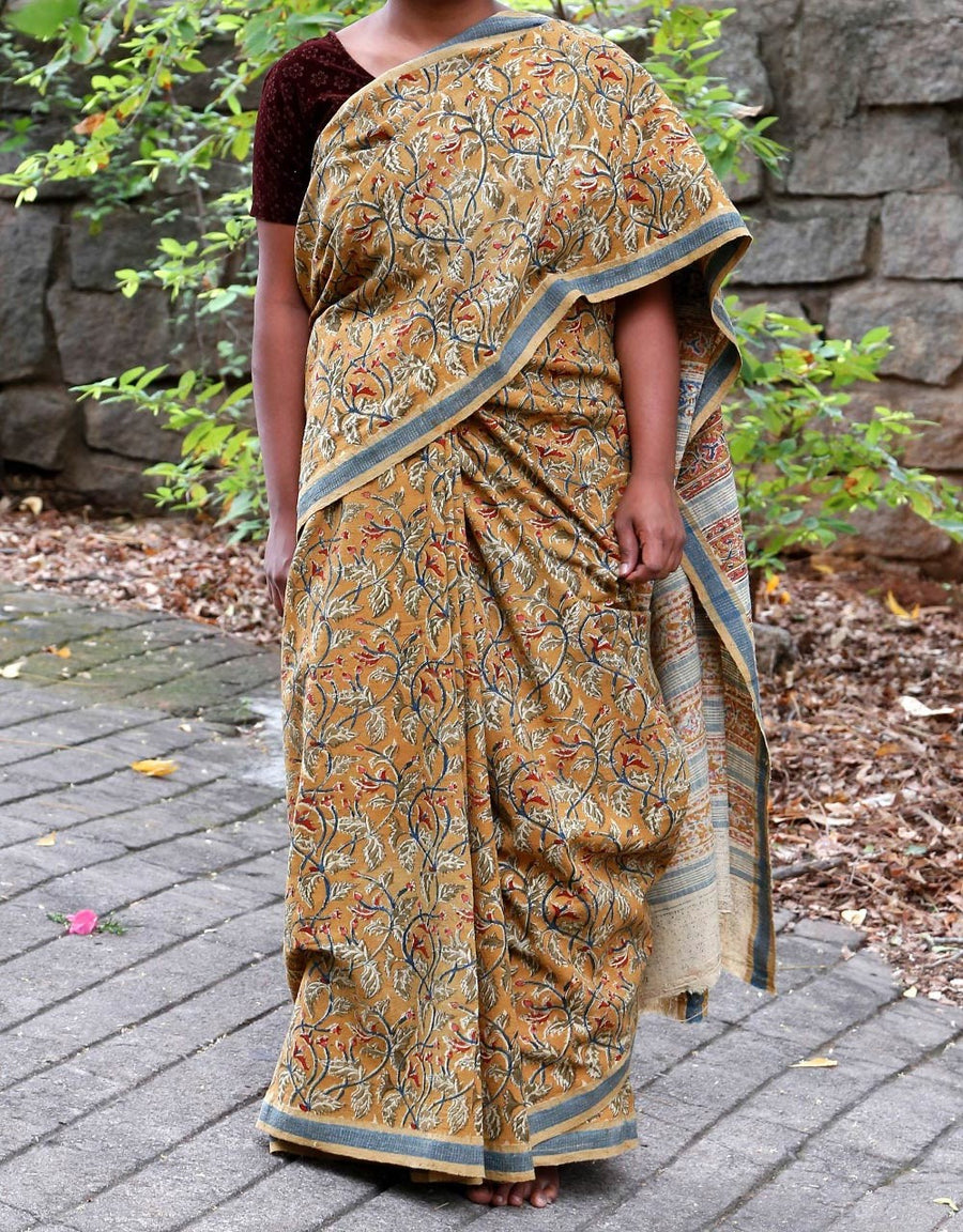 Malkha Natural Dyed Handlooms -KALAMKARI SAREE : ANAR YELLOW : ANAR GREEN : ALIZARIN RED