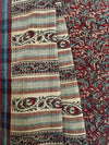 KALAMKARI SAREE : ALIZARIN RED : CEMENT GRAY