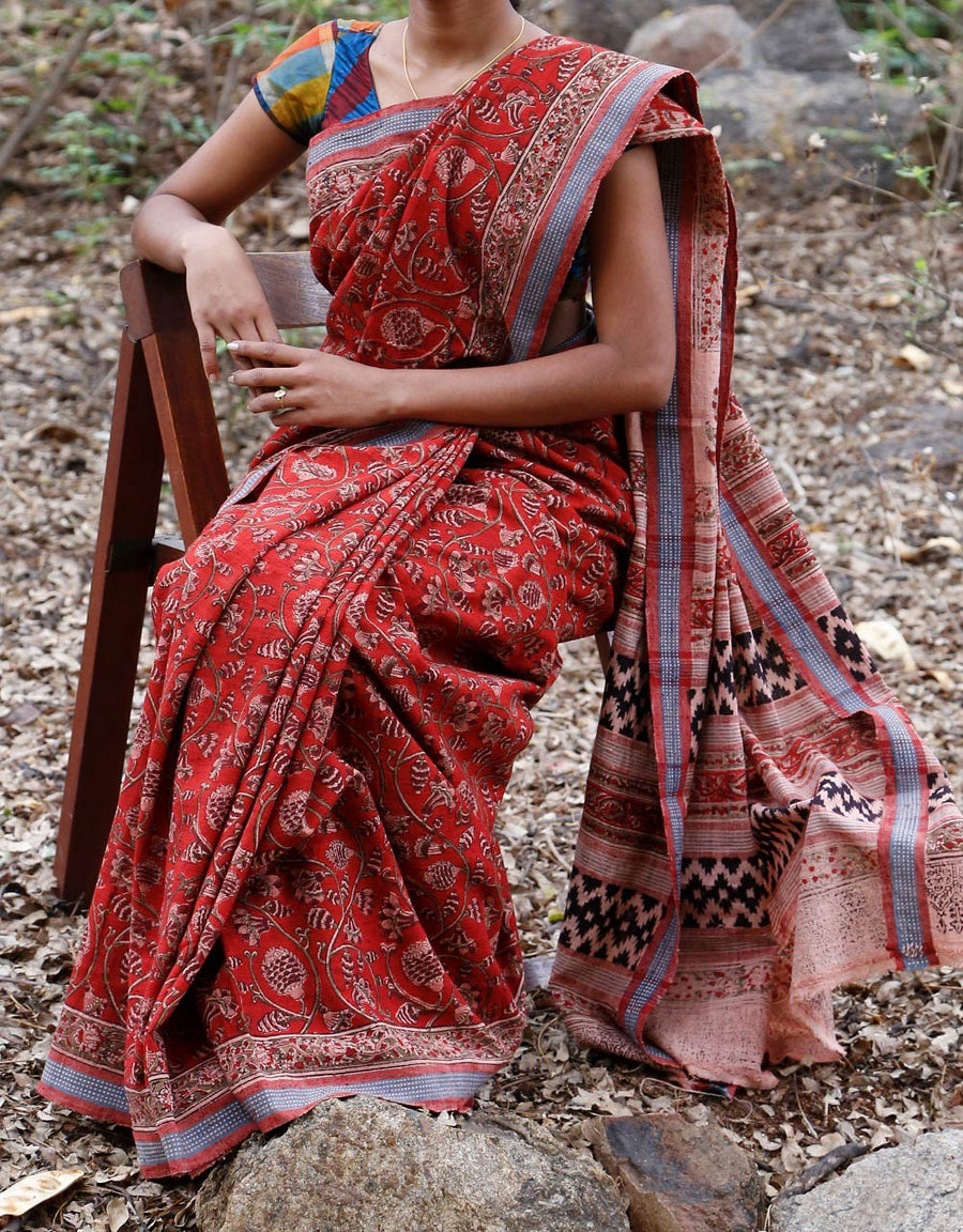 Malkha Natural Dyed Handlooms -KALAMKARI SAREE : ALIZARIN RED : MANJISHTHA BRICK RED