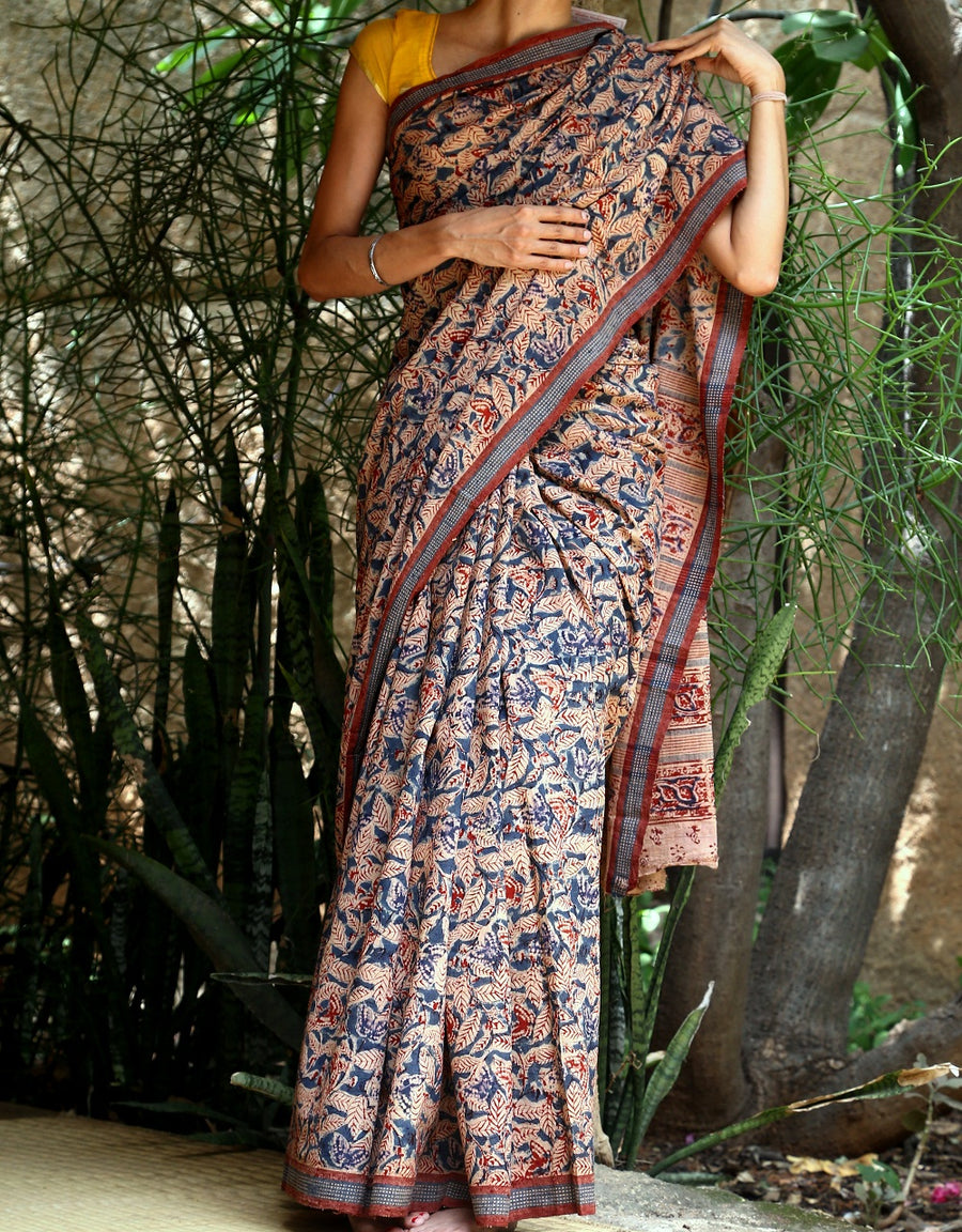 Malkha Natural Dyed Handlooms -KALAMKARI SAREE : DARK INDIGO : ALIZARIN RED
