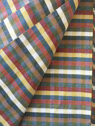 GEOMETRIC FABRIC : ANAR YELLOW : DARK INDIGO : OLIVE GREEN : ALIZARIN RED : KORA