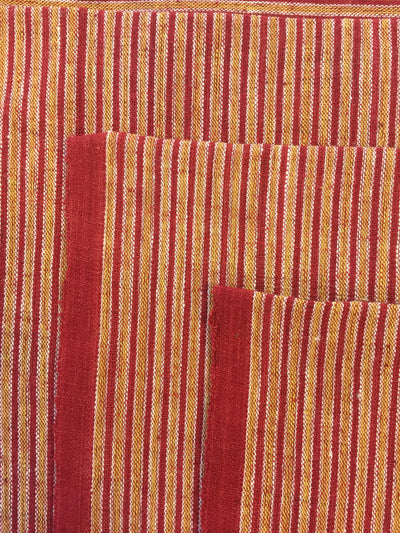 GEOMETRIC FABRIC : ALIZARIN RED : ANAR YELLOW : KORA