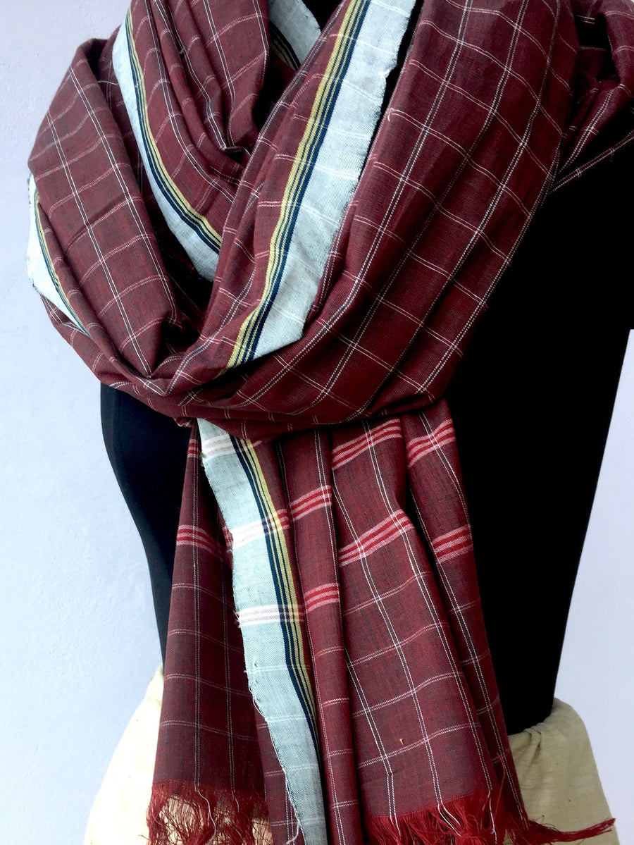 GEOMETRIC DUPATTA : ALIZARIN RED : INDIGO GREEN