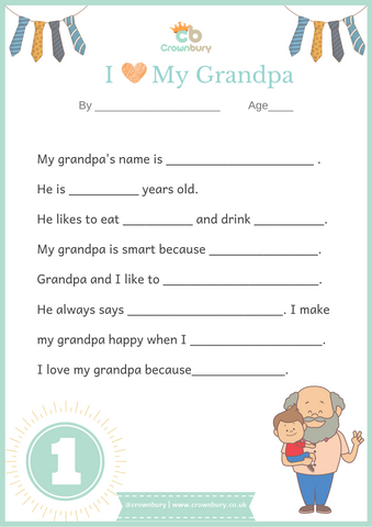 father's day, grandpa, all about my grandpa, i love grandpa, DIY gift for grandpa
