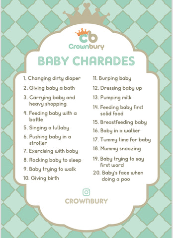 free baby shower games, baby shower charades, charades, instant downloaded baby shower games