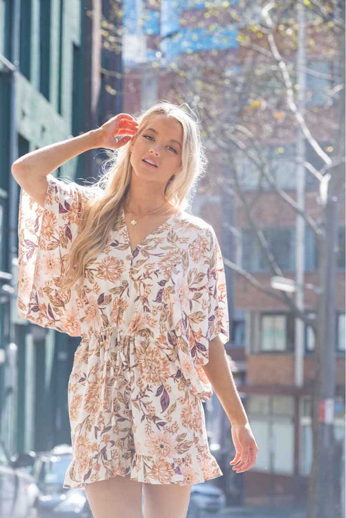 Relaxed fit playsuit-white tan floral - Dreamluxe