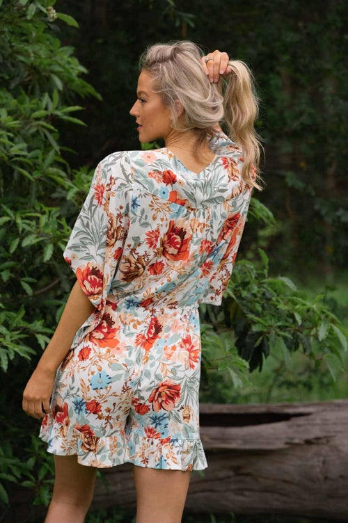Relaxed fit playsuit- Blue red floral - Dreamluxe