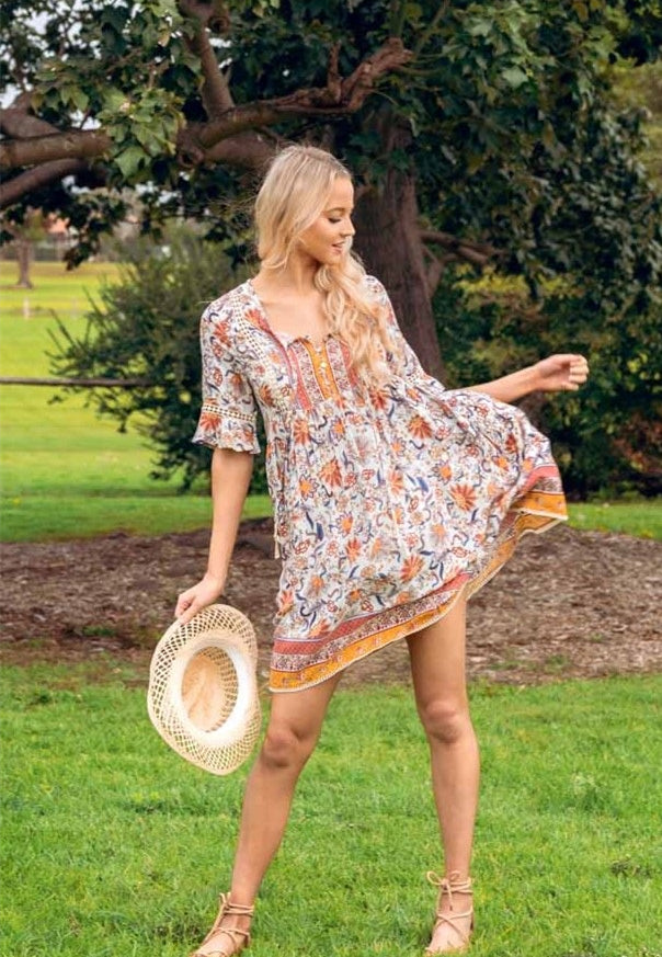 Rayon boho sun dress - Dreamluxe