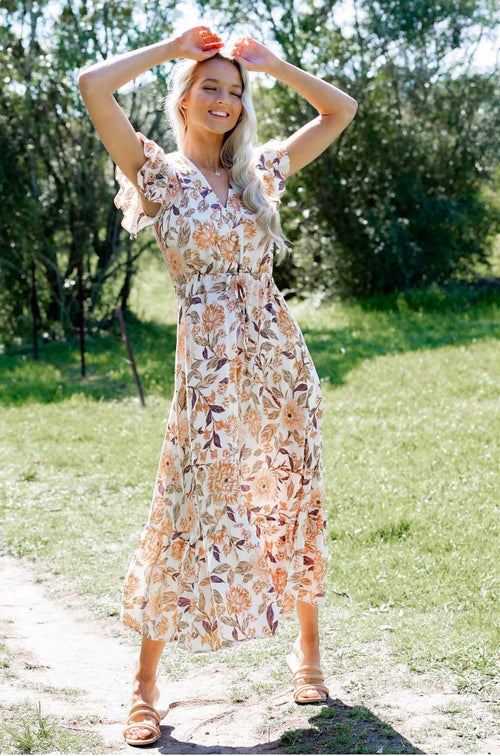 Boho floral maxi dress- White - Dreamluxe