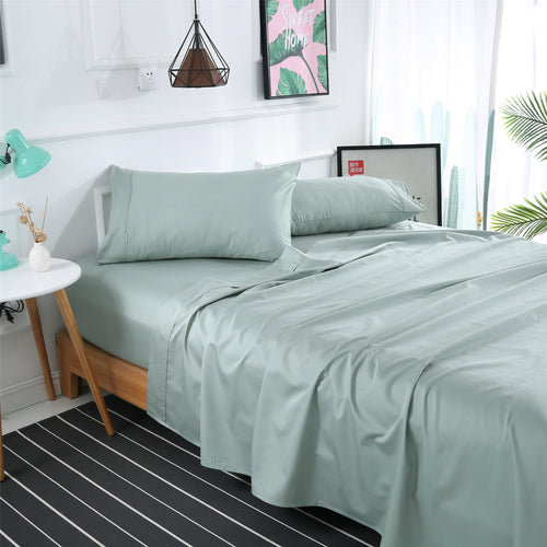 Dreamlux 1000TC 100% Egyptian cotton 4piece fitted flat sheet set ( Sage ) - Dreamluxe
