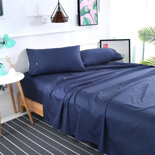 Dreamlux 1000TC 100% Egyptian cotton 4piece fitted flat sheet set ( Navy ) - Dreamluxe