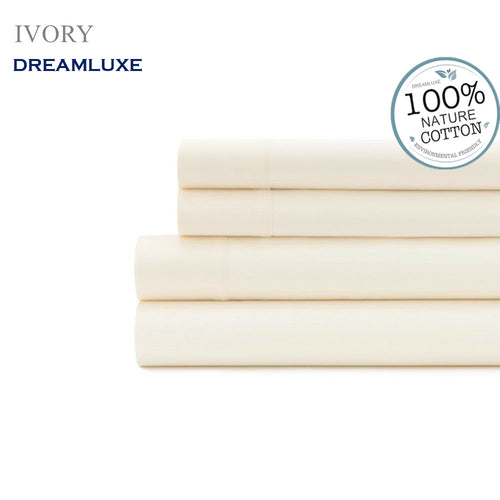 Dreamlux 1000TC 100% Egyptian cotton 4piece fitted flat sheet set ( Ivory ) - Dreamluxe