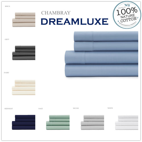 Dreamluxe 1000 Thread Count 100% Egyptian cotton 4piece fitted flat sheet set in Double Queen King - Dreamluxe
