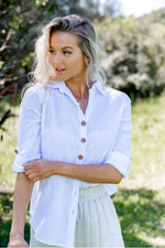 Row up sleeve white shirt with wooden botton details - Dreamluxe