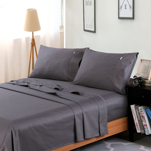 Dreamlux 1000TC 100% Egyptian cotton 4piece fitted flat sheet set ( Grey ) - Dreamluxe