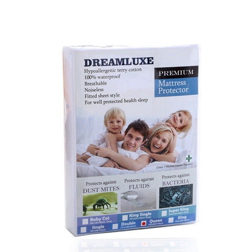 Dreamluxe Premium Hypoallergenic Waterproof Terry Cotton Mattress Protector - Vinyl Free - Dreamluxe