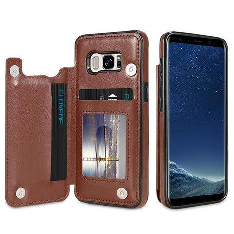 Image of Leather Wallet Case For Samsung