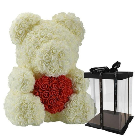 40cm Rose Teddy Bear With Heart