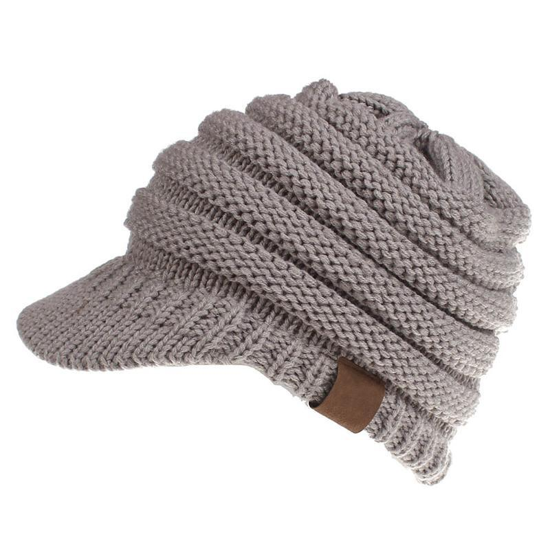 cc>>Knitted >>Ponytail >>Winter >>Hat >>For >>Women
