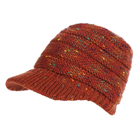Image of Knitted Dotted Ponytail Winter Hat For Women