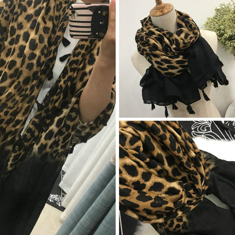 Image of Cotton Leopard Print Warm Scarf