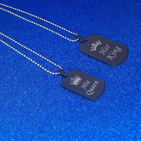 His Queen Her King Crown Letter Pendant Necklace