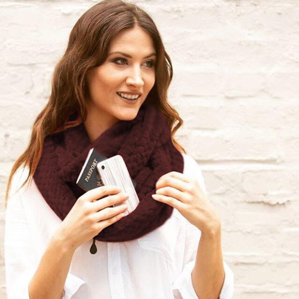 Knitted Infinity Scarf With Pocket / Fleece Scarf
