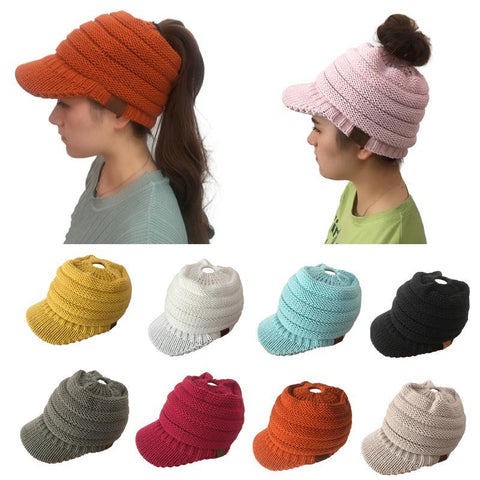 Image of cc>>Knitted >>Ponytail >>Winter >>Hat >>For >>Women