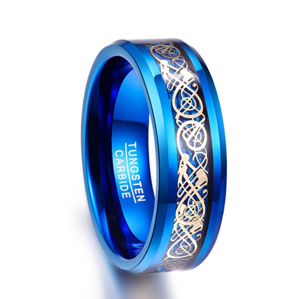 Blue Tungsten Ring For Men