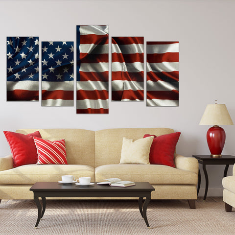 Image of USA Flag Wall Art Canvas