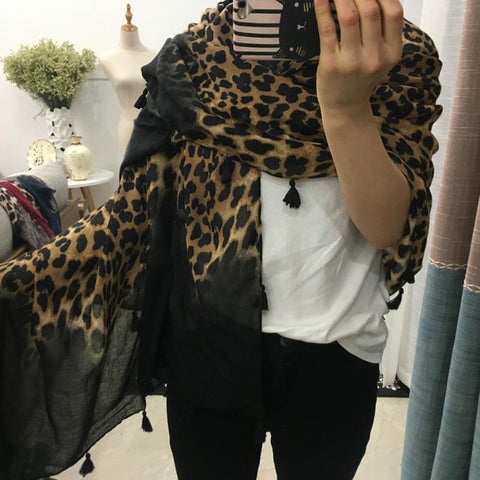 Image of Leopard Print Warm Scarf With Fringes