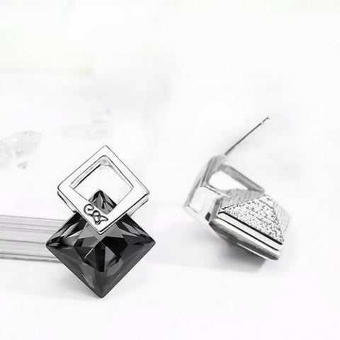 Square Crystal Star Earrings