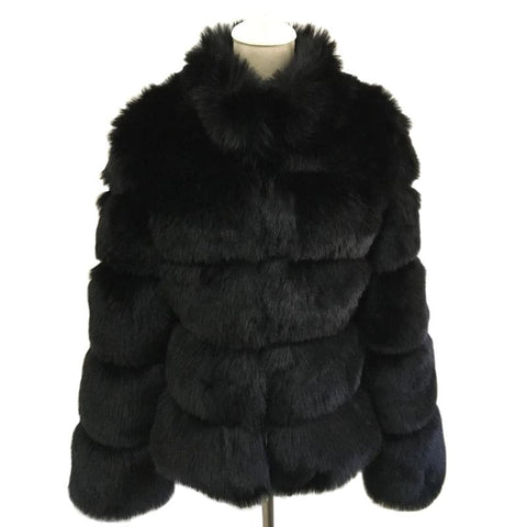 Image of Black Long Sleeve Faux Fur Coat