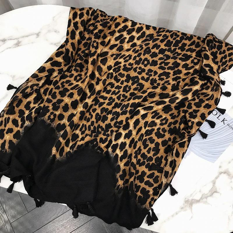 Leopard Print Scarf With Fringes