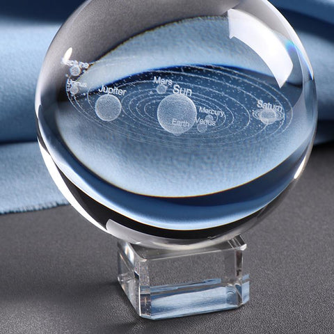 Image of Laser Engraved Solar System Crystal Ball