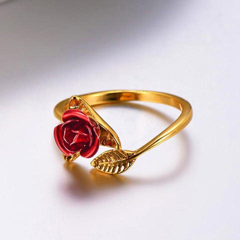 Red Rose Resizable Ring For Women