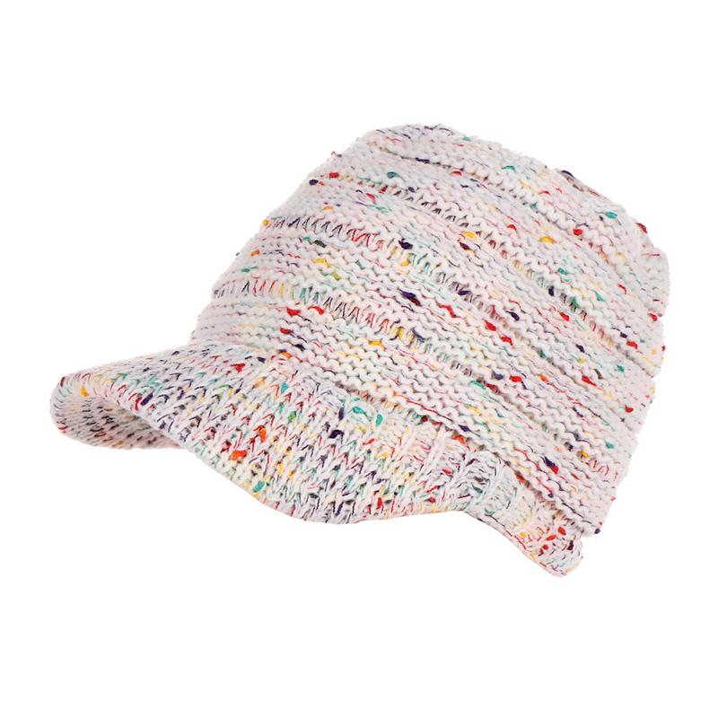 Knitted Dotted Ponytail Winter Hat For Women